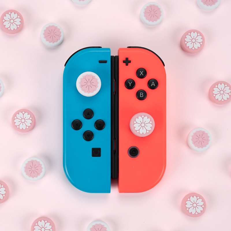 Sakura de pulgar Puños para Nintendo interruptor 6 juegos controlador caso Joystick cubierta de tapa de balancín interruptor de Nintendo Accesorios