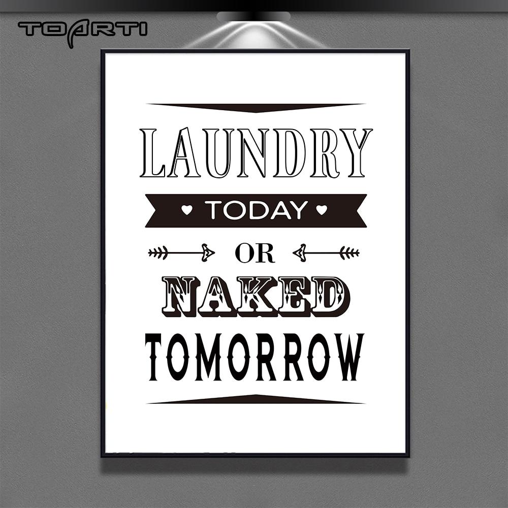 Sala de lavanderia cartazes decorativos impressões modernas citações limpas pintura da lona para casa de banho decoração parede arte fotos presente da família