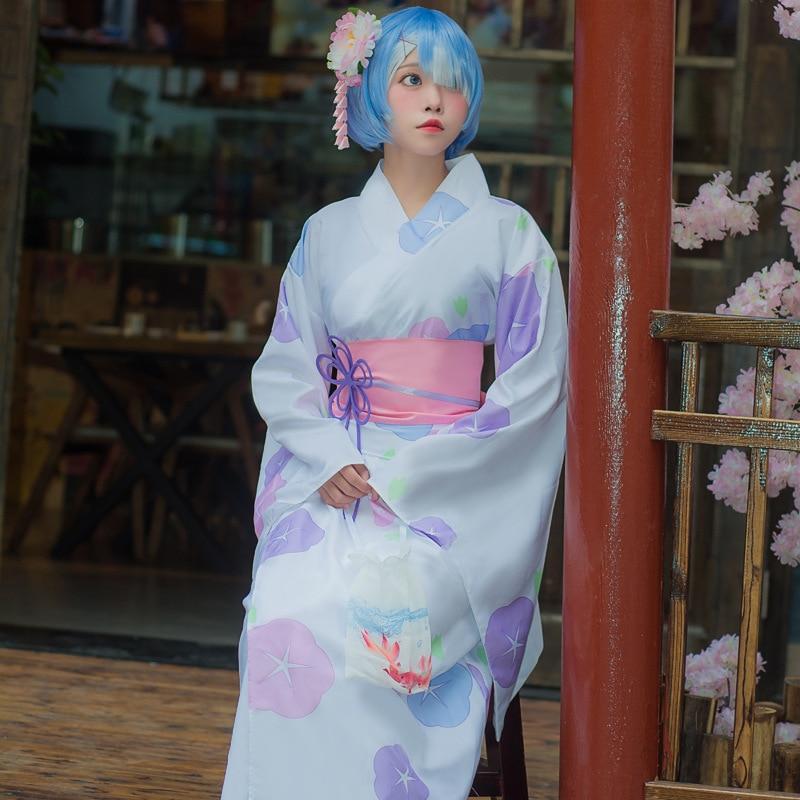 Re la vie dans un monde différent de zéro Rem Kimono uniforme Cosplay Ram Costume mode fille dessin animé Ram kimono yukata Cosplay