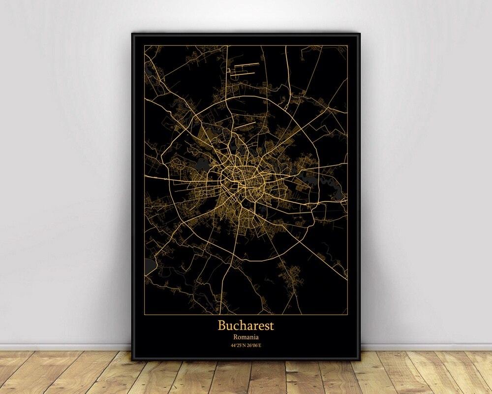 Bucharest Rumanía, mapas de luz de ciudad negro y dorado, mapa de ciudades del mundo personalizado, carteles impresiones en lienzo, arte de pared de estilo nórdico, decoración del hogar