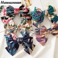 large barrettes three levels floral print hair bows for woman girls handmade bohemia korean bowknot hair clips hair accessories