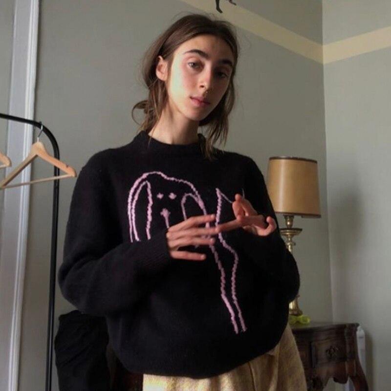 B-TOTO الأمريكية ريترو الأسود الكرتون الجولة الرقبة البلوز سترة المرأة فضفاض لباس خارجي 2021 موضة جديدة