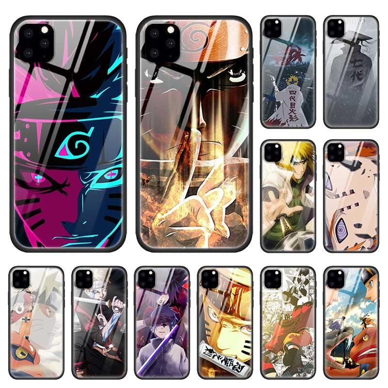 Naruto kakashi caso para apple iphone 11 pro xr xs max x 7 8 6 s plus vidro temperado + silicone preto anime telefone capa coque