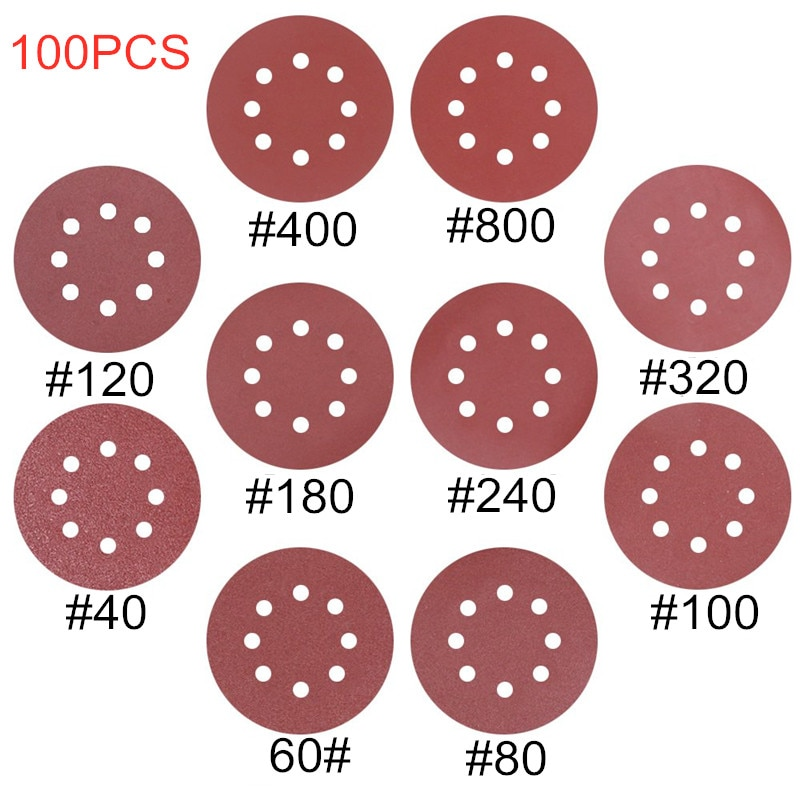 100pcs 125mm Round Shape Sanding Discs Hook Loop Sanding Paper Buffing Sheet Sandpaper 8 Hole Sander Polishing Pad Sandpaper