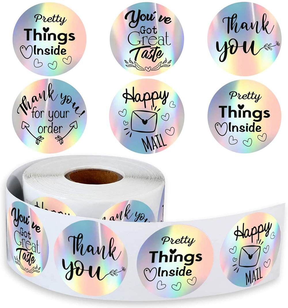 500pcs Thank You for My Small Business Stickers Paper Thank You Label Sticker Rainbow Silver Roll Adhesive Shipping Mail Labels