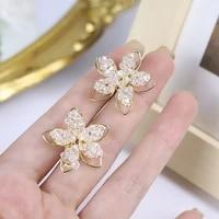 korean retro hollow crystal flower earrings net red temperament super fairy three dimensional petal earrings female earrings