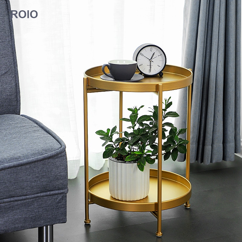 INS Nordic Double-layer Iron Art Small Coffee Table Corner Round Table Living Room Sofa Side Table Bedside Simple Small Table