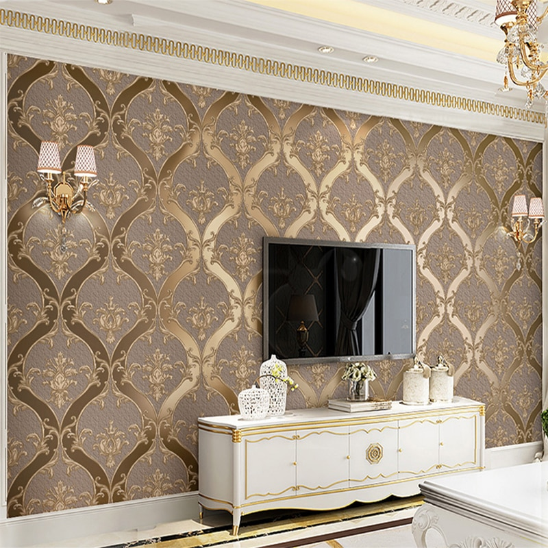 European Style Damascus Wallpaper Living Room TV Sofa Bedroom 3D Relief Non-woven Bedside Wall Paper Luxury Home Decor 3D Tapety