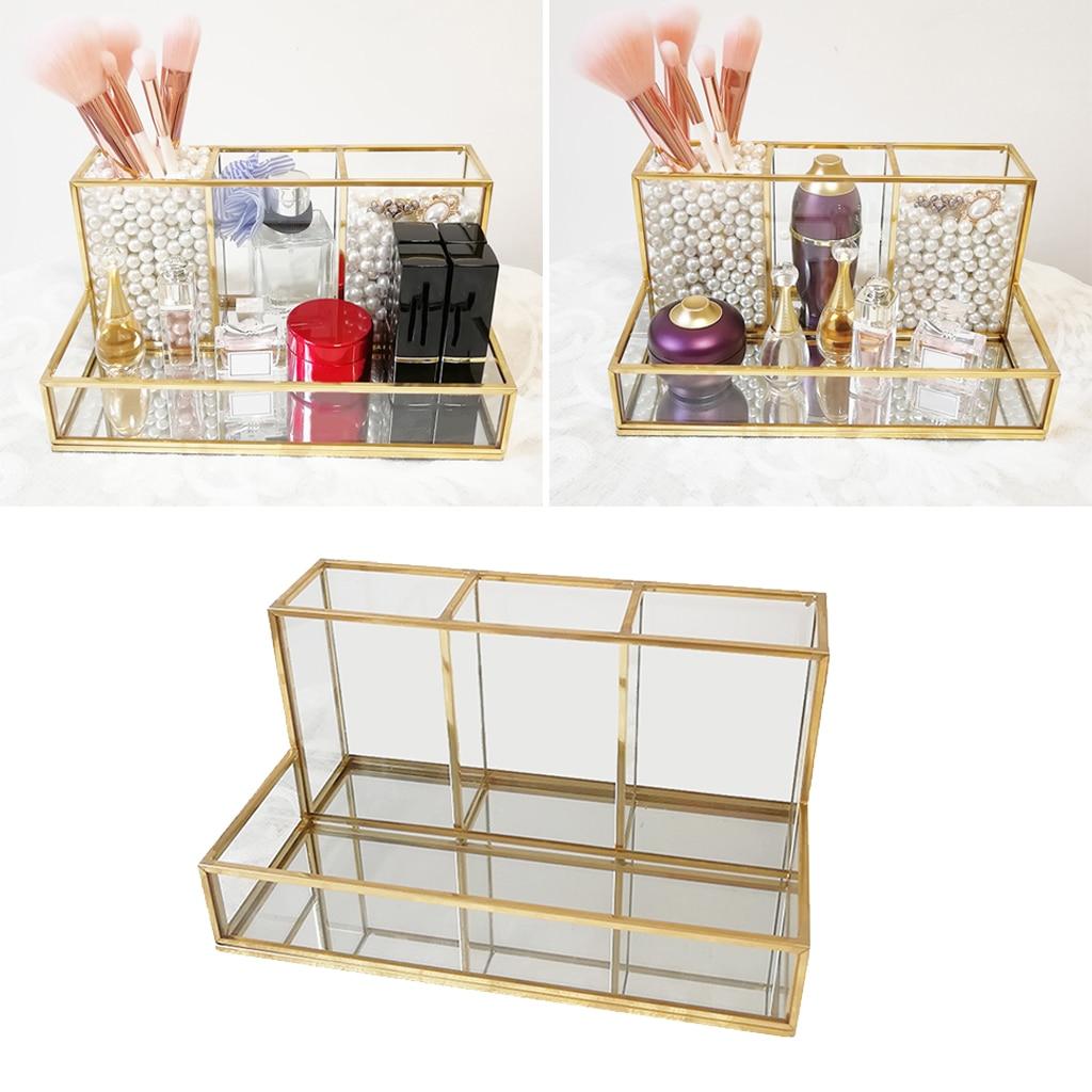 Metal Glass Large Glass with Gold Trim Decorative Cabinet Decorative Box/Clear Drawer Storage/Vintage Jewelry Organizer