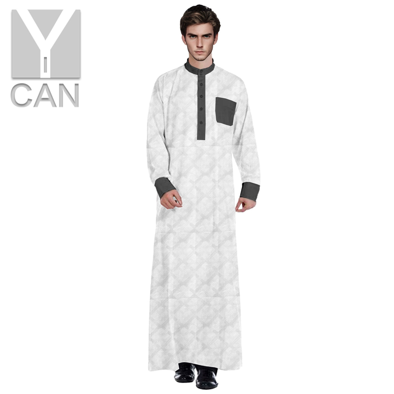 Y-CAN Muslim Fashion for Men Jubba Thobe Pakistan Free With Stand Up Collar Contrast Islamic Arabic Clothing Muslim Robe Y211003