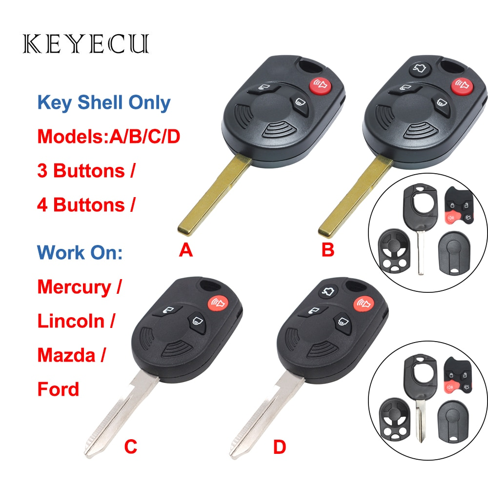 Keyecu Remote Car Key Shell Case 3 / 4 Buttons for Ford Edge Escape for Lincoln Aviator MKS for Mazda Tribute for Mercury