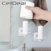 1 2 pieces cuisine porte-serviettes en papier auto-adhesif sans ongles sous armoire rouleau support tissu cintre support de rangement pour salle de bain toilette