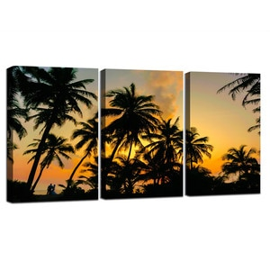 3 Pieces Framed Tropical Palm Tree Sunset Beach Landscape Wall Art Canvas Painting Nordic Posters and Prints Room Decoration