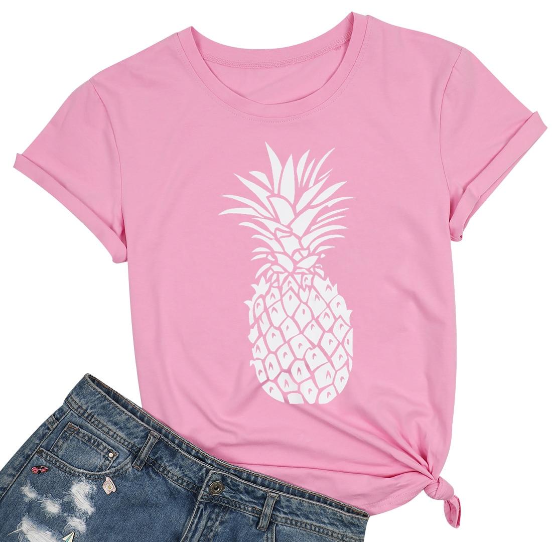 Pineapple t Shirt O Neck Short Sleeve Summer T-Shirt Tops Casual Tshirt pineapple printing o collar short sleeve ladies T-shirt