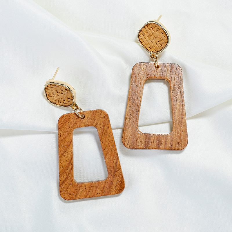 AENSOA Vintage Wooden Drop Earrings For Women Girl Maxi Jewelry Ethnic Wood Big Geometric Dangle Earrings Pendientes Party Gift