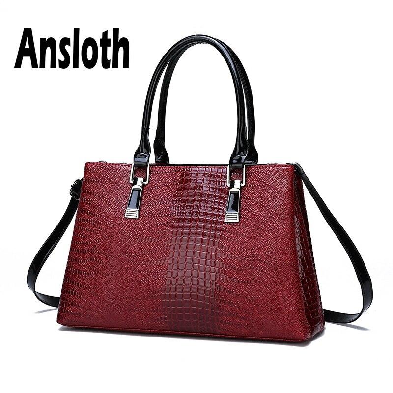 Ansloth Crocodile Pattern Handbag Women Luxury PU Leather Tote Bag Lady Large Capacity Shoulder Bag Female Top-handle Bag HPS640