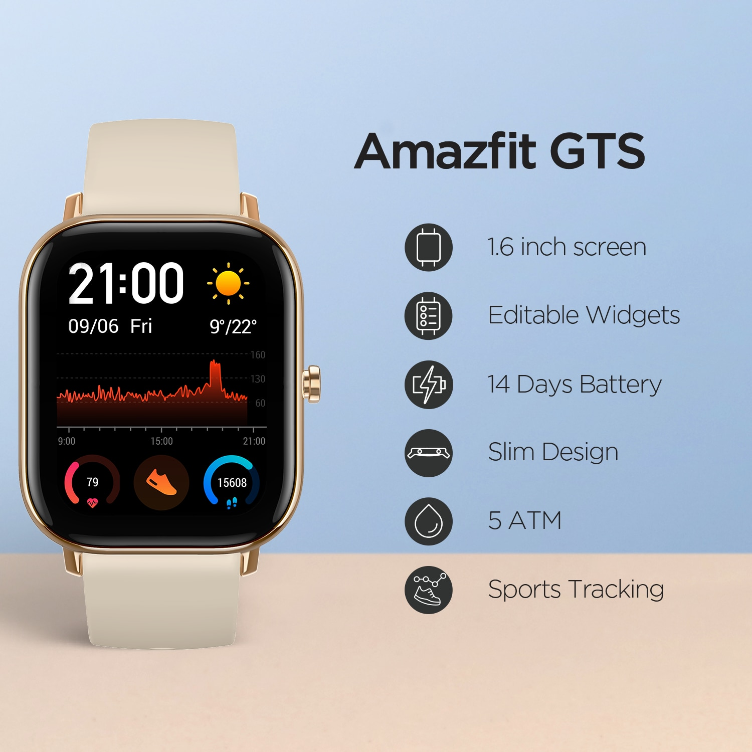 Global Version Amazfit GTS Smart Watch 5ATM Waterproof Swimming Smartwatch NEW 14 Days Battery Editable Widgets for Android