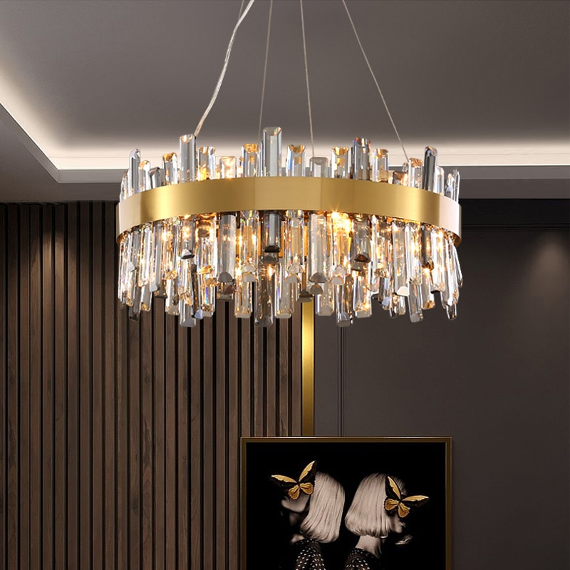 FKL الحديثة الذهب مستديرة الكريستال الثريا ضوء الفاخرة مصباح لغرفة المعيشة مصمم الرجعية غرفة نوم دراسة مطعم تركيبات داخلي