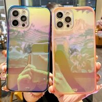 high quality summer rainbow laser soft silicon phone case for iphone 12 pro max 7 8 plus xs max xr colorful plating cover coque