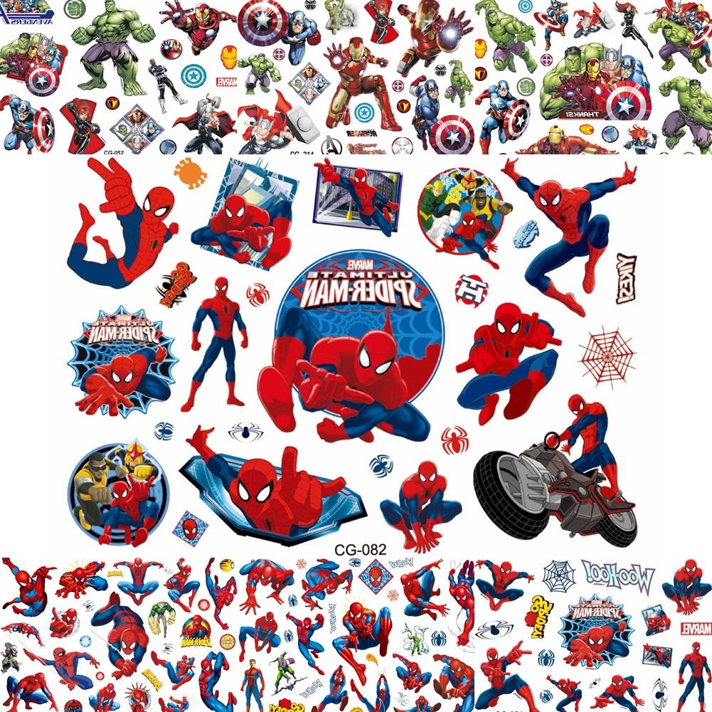 Cool Super Hero Spider Man Temporary Tattoos For Boy Kids Gift Waterproof Tatoos Cartoon Children Comic Spiderman Tattoo Sticker
