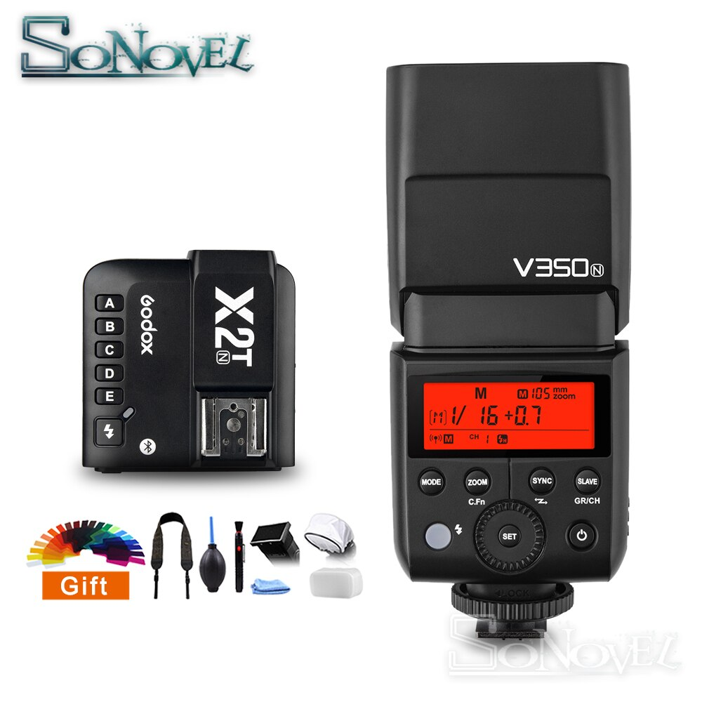 Godox V350N TTL 1/8000s HSS 2.4G GN36 ليثيوم أيون بطارية كاميرا فلاش مع X2T-N اللاسلكية فلاش الزناد الارسال لنيكون Z7 Z6