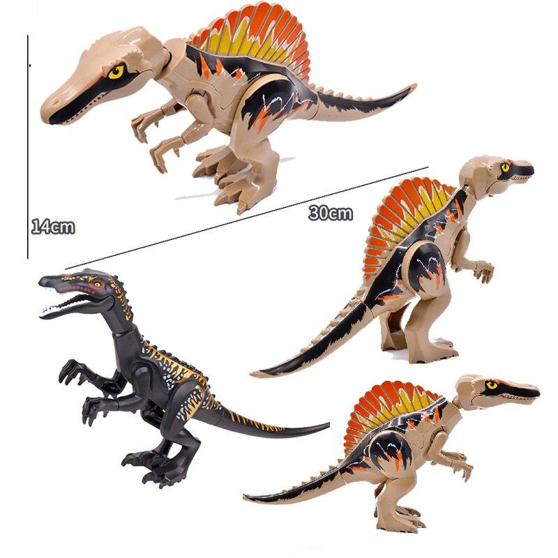 2 pçs jurássico dinossauro animal mundo spinosaurus baryonyx diy modelo blocos de construção tijolos brinquedos presentes