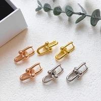 punk style cool u link chain earrings for women hot street fashion heavy metallic lady gold color earring luxury bling earring