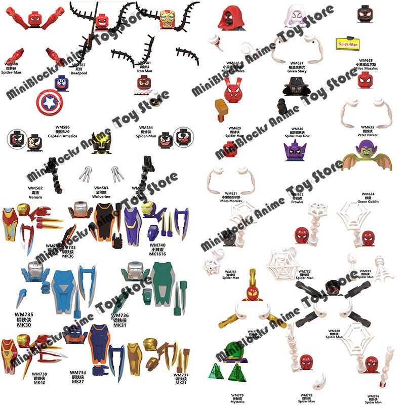Поштучная распродажа, кубики из серии Disney Marvel Buliding, миниатюрные фигурки из фильма, ТВ, серии головок, Обучающие Детские игрушки, подарки на д...