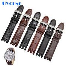 Bracelet de montre en cuir véritable de haute qualité pour Swatch YRS403 412 402G bracelet de montre 21mm bracelet de montre pour hommes