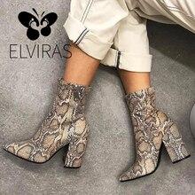 ELVIRAS  Snake Skin Boots Women High Heel Boot snakeskin Pointed Toe Zip Shoes Thick high heel Female Slouch Boots Autumn Winter