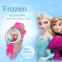 Elsa Watch Girls Elsa Princess Kids Watches Leather Strap Cute Children's Cartoon Wristwatches Gifts