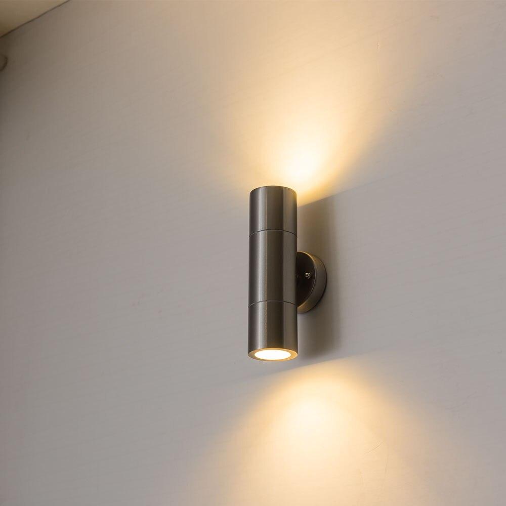 جدار فولاذي مقاوم للصدأ مصباح حتى أسفل داخلي في الهواء الطلق الجدار الشمعدان تركيبة إضاءة لحديقة ساحة الشرفة الممر أضواء جدار ديكور