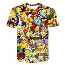 Nouveau hommes et femmes gros T-shirt Simpson imprimer 3D T-shirt dessin animé drôle Simpson famille T-shirt col rond à manches courtes T-shirt décontracté