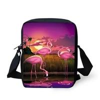 fashion womens messenger bags sunset flamingos pattern kids shoulder bags kawaii animal painting girls mini flaps bags