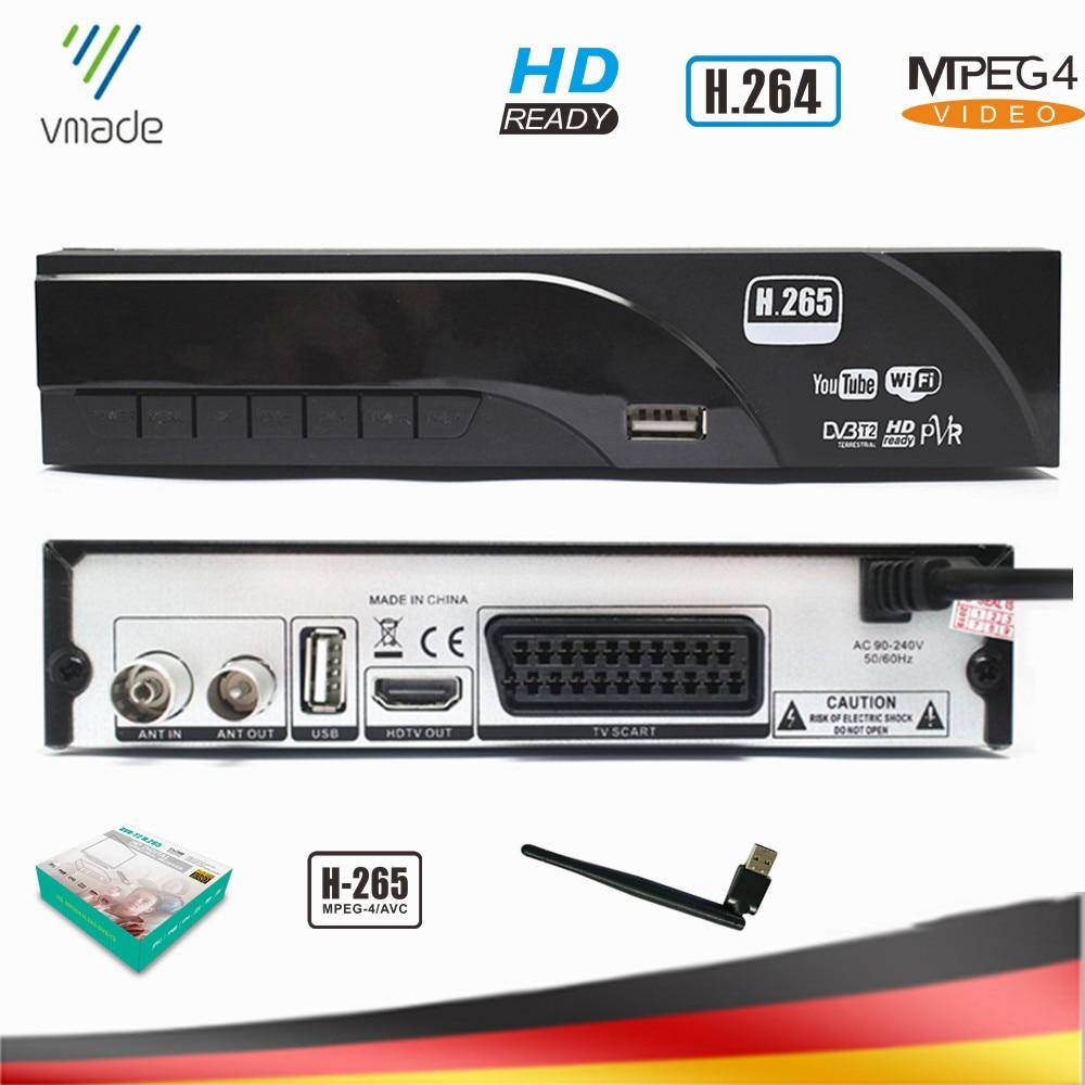 Vmade DVB-T2 HD Digital terrestre recibidor compatible con Dolby AC3 H.265/HEVC DVB-T gran oferta Europa sintonizador de TV Set-Top Box + WIFI USB
