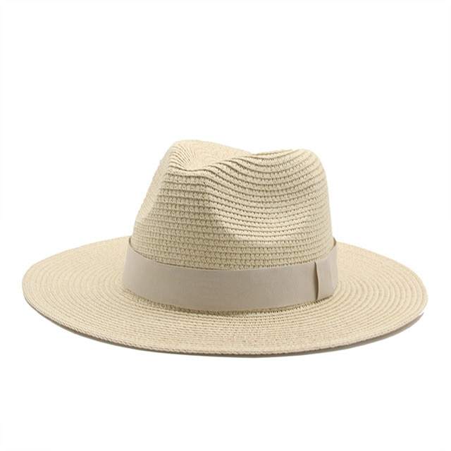 Кепка для женщин и мужчин джазовая, Классическая уличная пляжная Панама с лентой, цвета хаки, черный, белый, солнцезащитная, соломенная, повседневная|Аксессуары для одежды|| | АлиЭкспресс