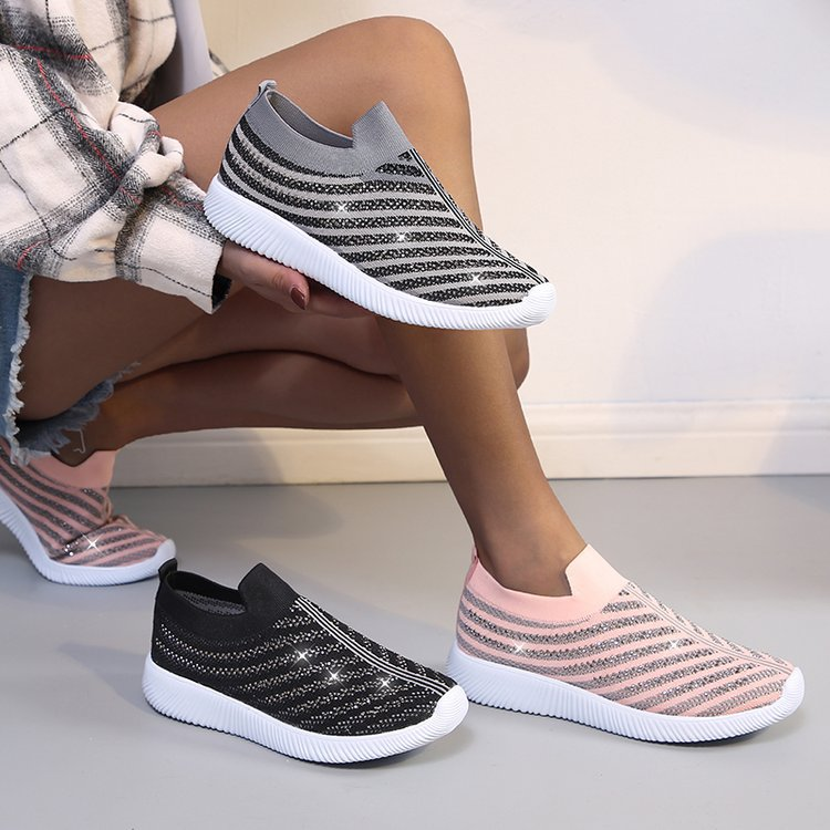 Women's shoes spring fashion breathable wild all-match shoes shallow mouth rhinestone sports flying knit shoes women trend hot