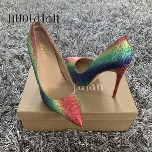 Brand fashion woman shoes snake printing party wedding shoes big size 35-42 sexy pointed toe high heels pumps women shoes