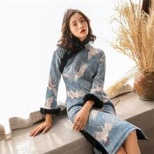 2020 Luxury Winter qipao dress womens retro style printed warm Thick cheongsam improved chinese dresses plus size XXXL