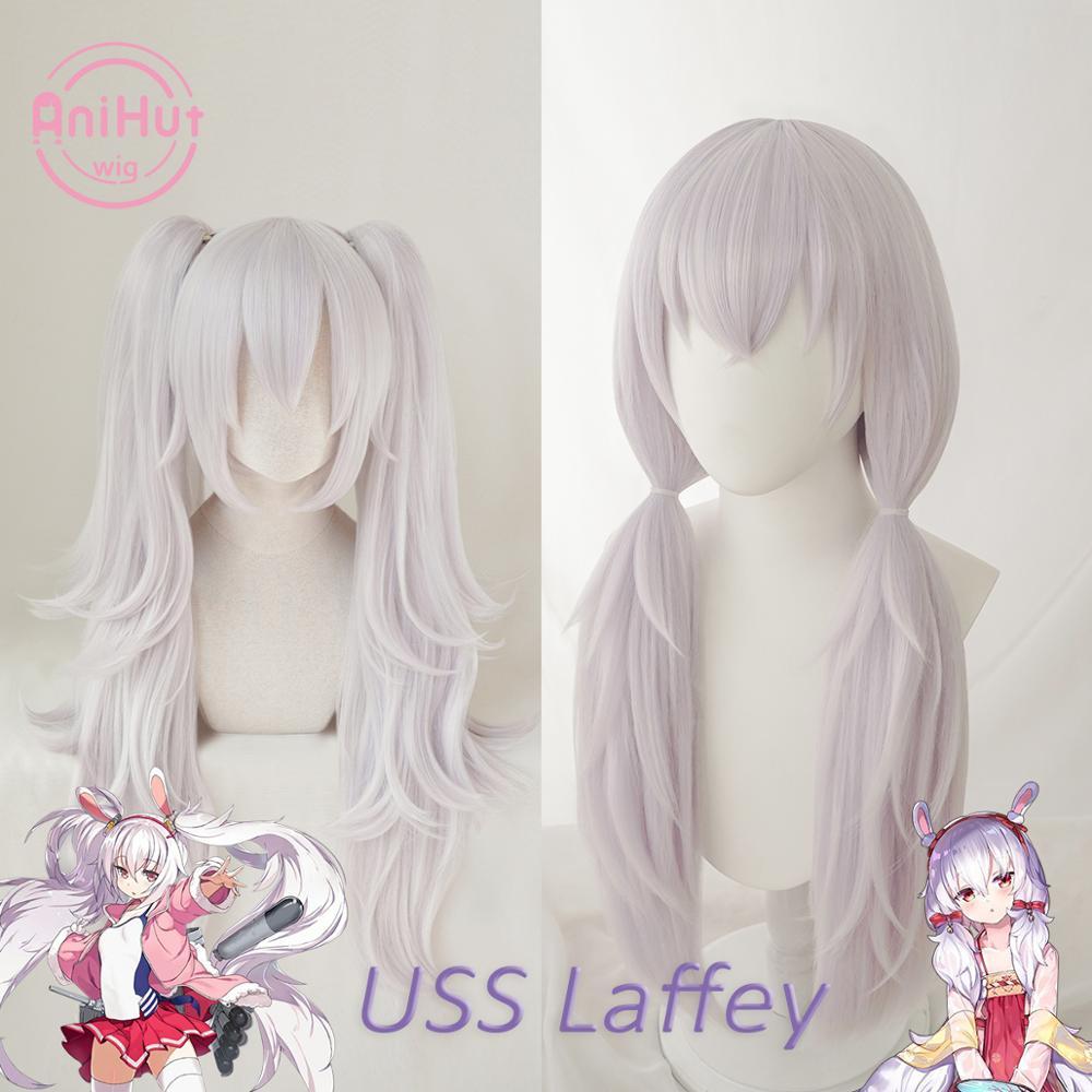 Laffey-شعر مستعار تنكري أرجواني فاتح ، شعر صناعي مقاوم للحرارة ، نسخة من لعبة Azur line ، Laffey Cosplay