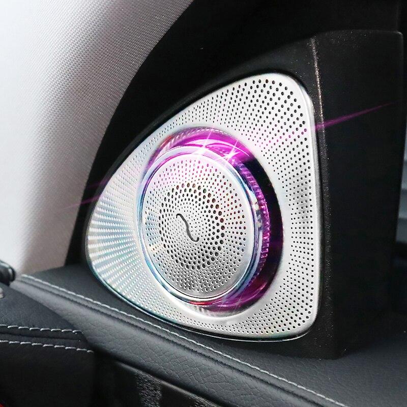 3d rotation glow tweeter speaker for mercedes benz w222 s class high pitch loudspeaker led treble speaker audio trumpet horn Car 3D Rotation Light Tweeter For Benz W213 W205 W177 W222 GLC LED Ambient light Treble Speaker Audio Trumpet Horn 3/12/64 Color