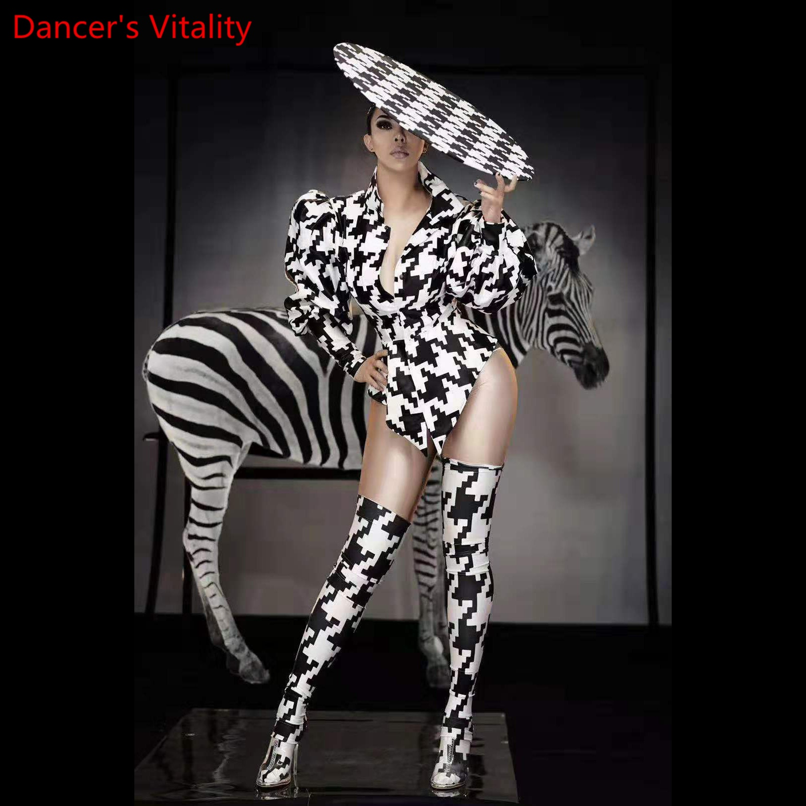 Sur pôle douverture de Festival moderne, Jazz Disco, chanteuse avec impression de rayures du zèbre, justaucorps, vêtements de scène, vêtements de performance