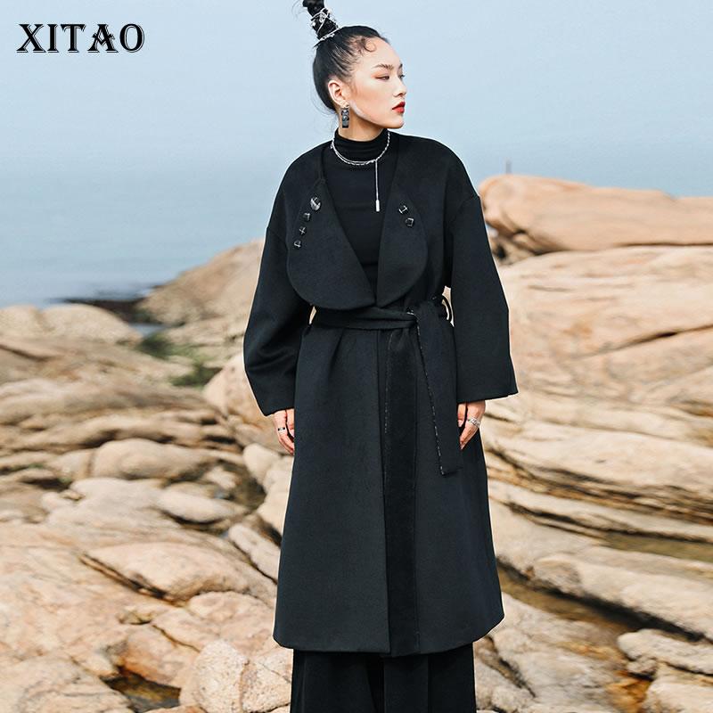 XITAO واحدة الصدر خليط خليط النساء 2021 الخريف جديد شخصية الموضة بدوره إلى أسفل طوق كامل الأكمام مزيج WLD6518