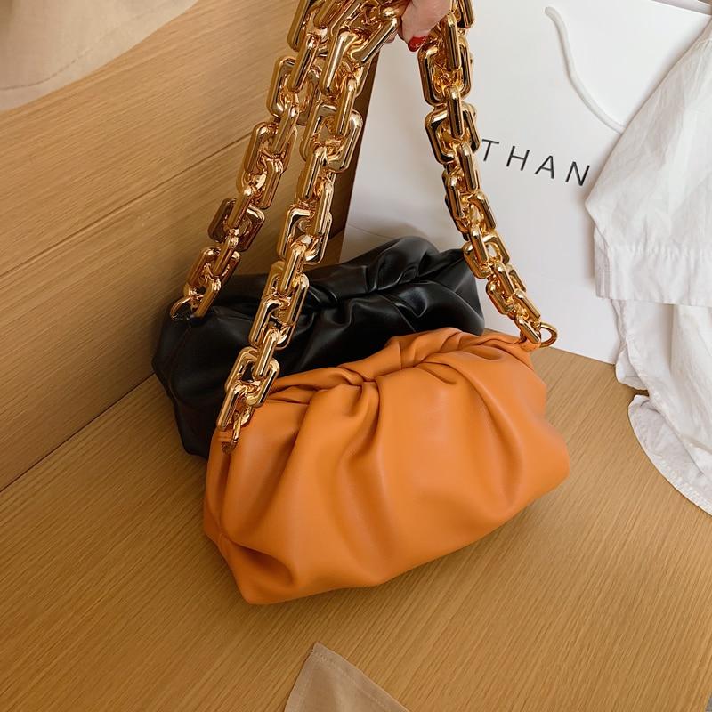 2020 New Women Simple Dumplings Bag Designer Fashion Cloud Thick Chain Female Shoulder Bag Chic Tide Handbag Party Clutch Bag