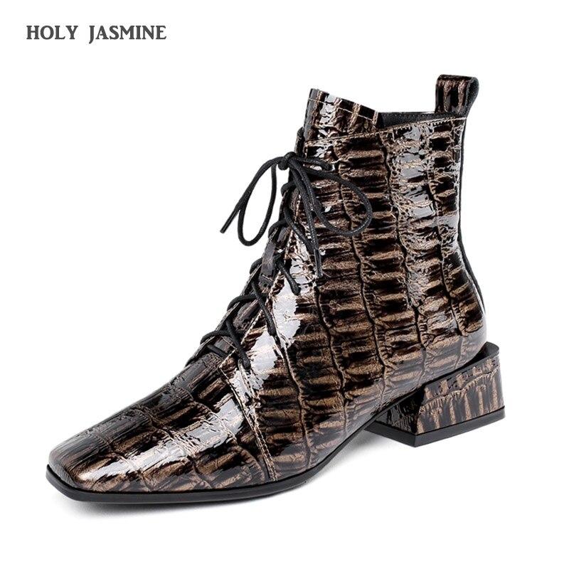 Женская обувь; коллекция 2020 года; осенние ботильоны для женщин; модная обувь из натуральной кожи; женские ботинки на квадратном каблуке с ос...