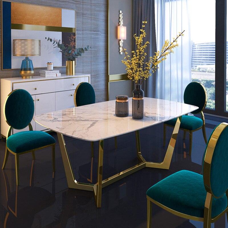 الايطالية الفولاذ المقاوم للصدأ الزفاف طاولات الطعام مجموعات الفاخرة الطعام الكراسي الحديثة طاولة طعام من الرخام مجموعة