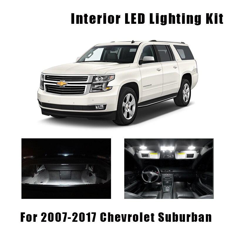 14pcs White LED Light Ceiling Bulbs Interior Kit Fit For 2007-2015 2016 2017 Chevrolet Suburban Tahoe Map License Plate Lamp