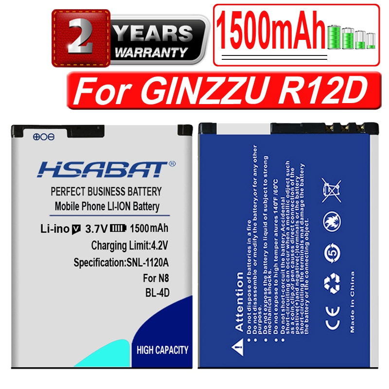 Batería de teléfono móvil HSABAT 1500mAh para GINZZU R12D