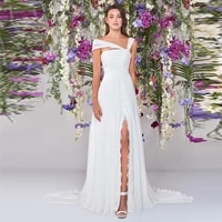 thinyfull chiffon boho wedding dresses with side split lace appliques beach country wedding party gowns vestidos de novia