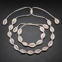 original design shells necklace bracelet one set natural seashells knit chain rope girl choker bracelets jewelry gift adjustable
